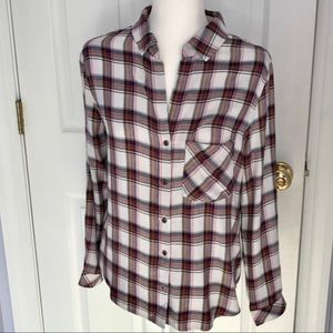 Anthropologie Plaid button up Shirt size small